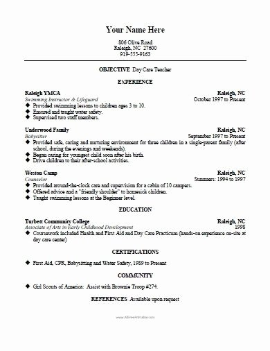 Day Care Teacher Resume Best Resume Collection