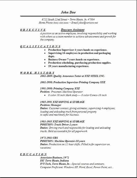 Daycare assistant Resume Examples Samples Free Edit with Word