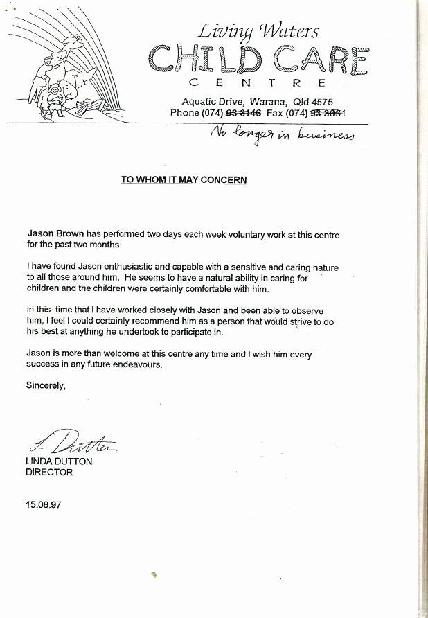 Daycare Teacher Resume Cover Letter