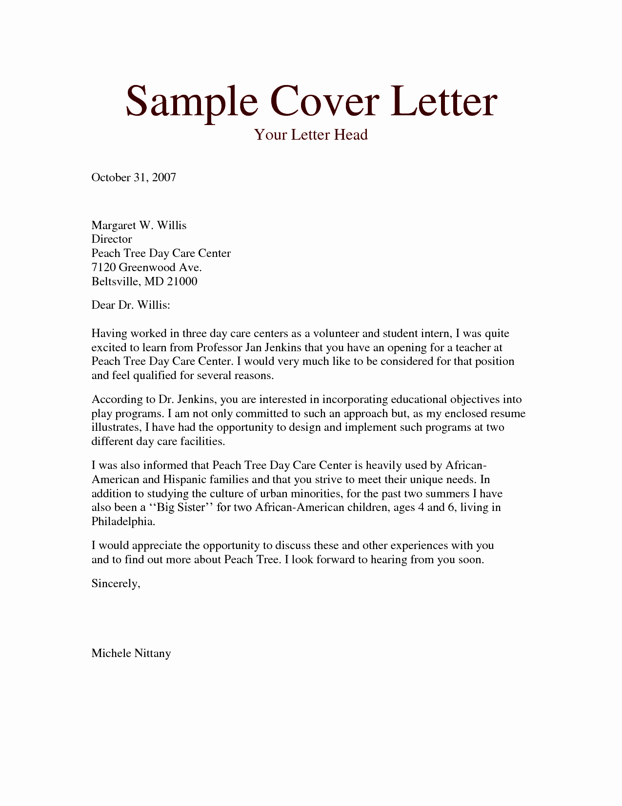 Daycare Teacher Resume Cover Letter