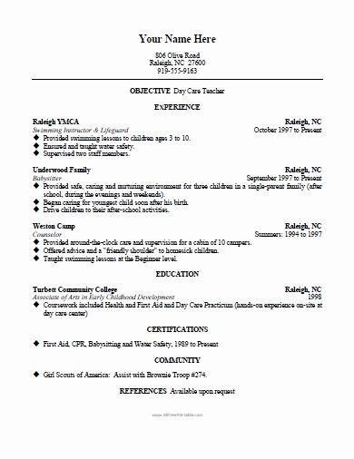Daycare Teacher Resume Template Free Printable