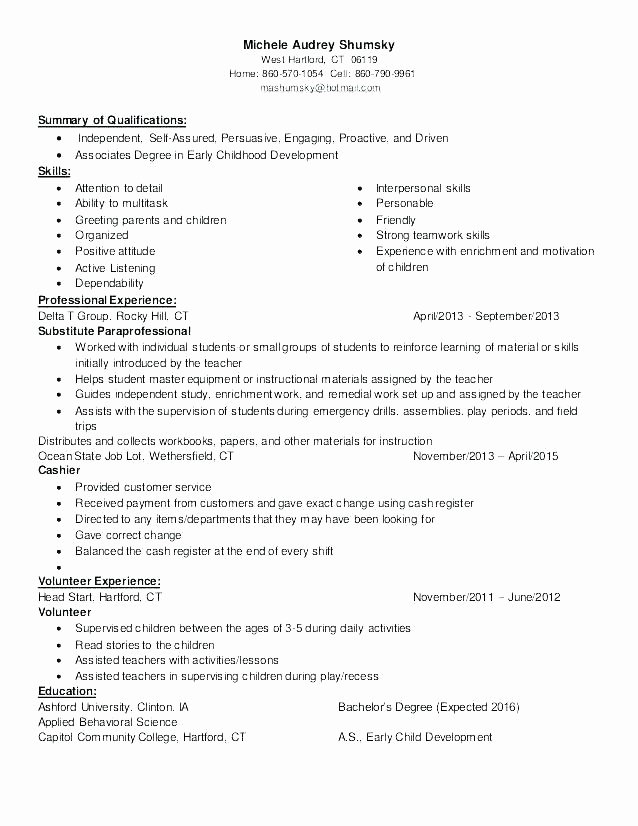 Daycare Worker with No Experience Resume for Child Care