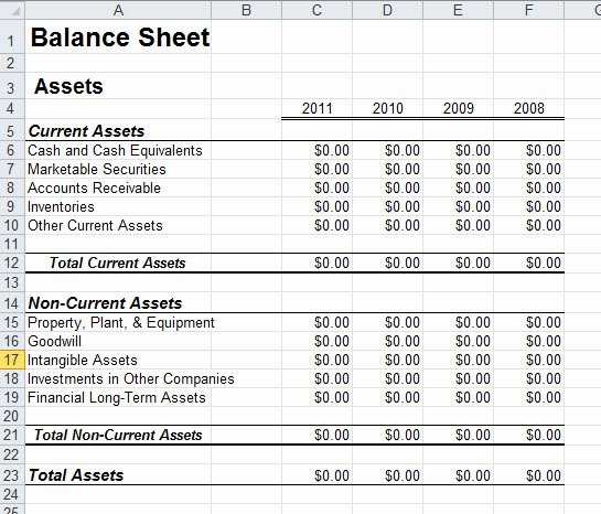 Days without Download Free Excel Balance Sheet Template