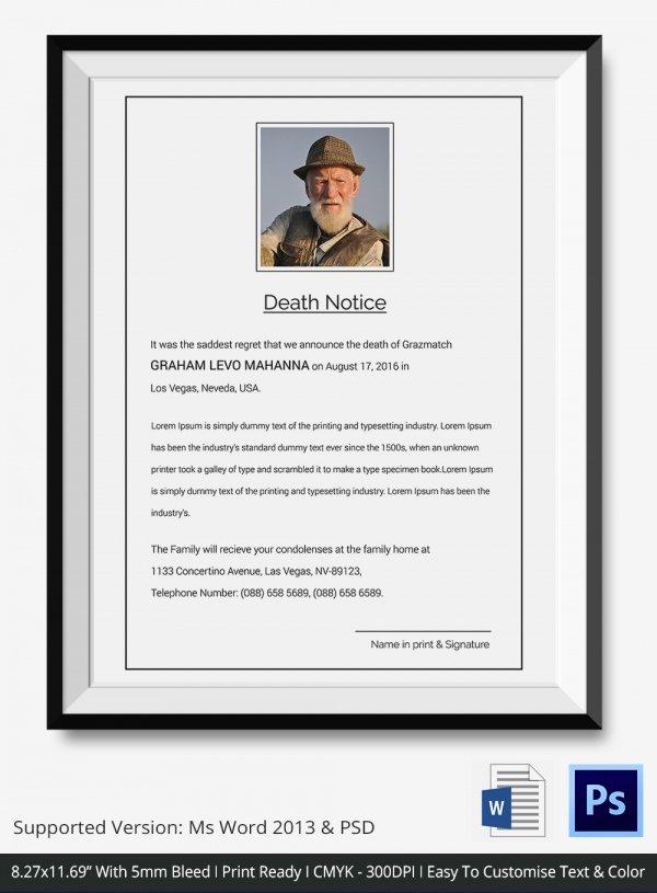 Death Notices – 35 Free Printable Word Excel Pdf format