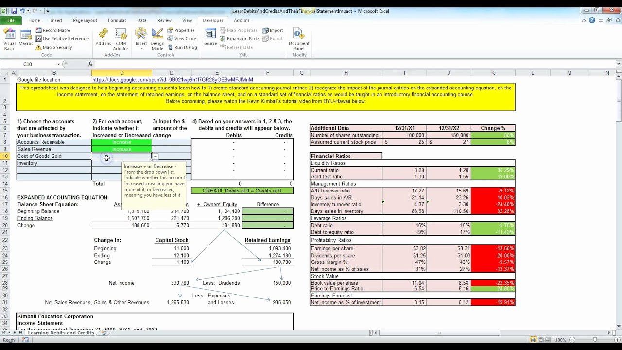 Debits and Credits Made Easy with Excel