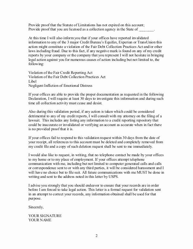 Debt Validation Letter Best Letter Examples