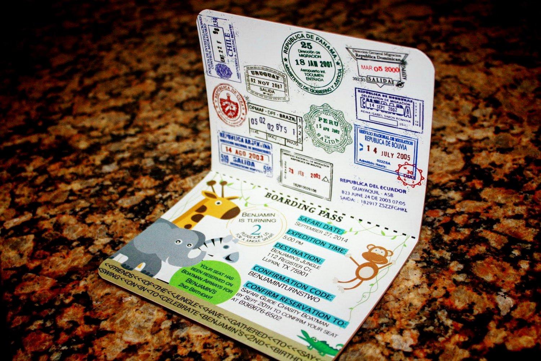 Debut Passport Invitation Template
