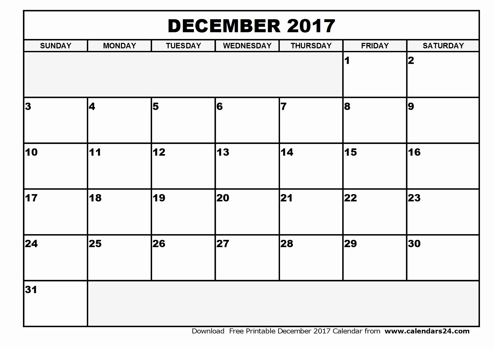 December 2017 Calendar Excel