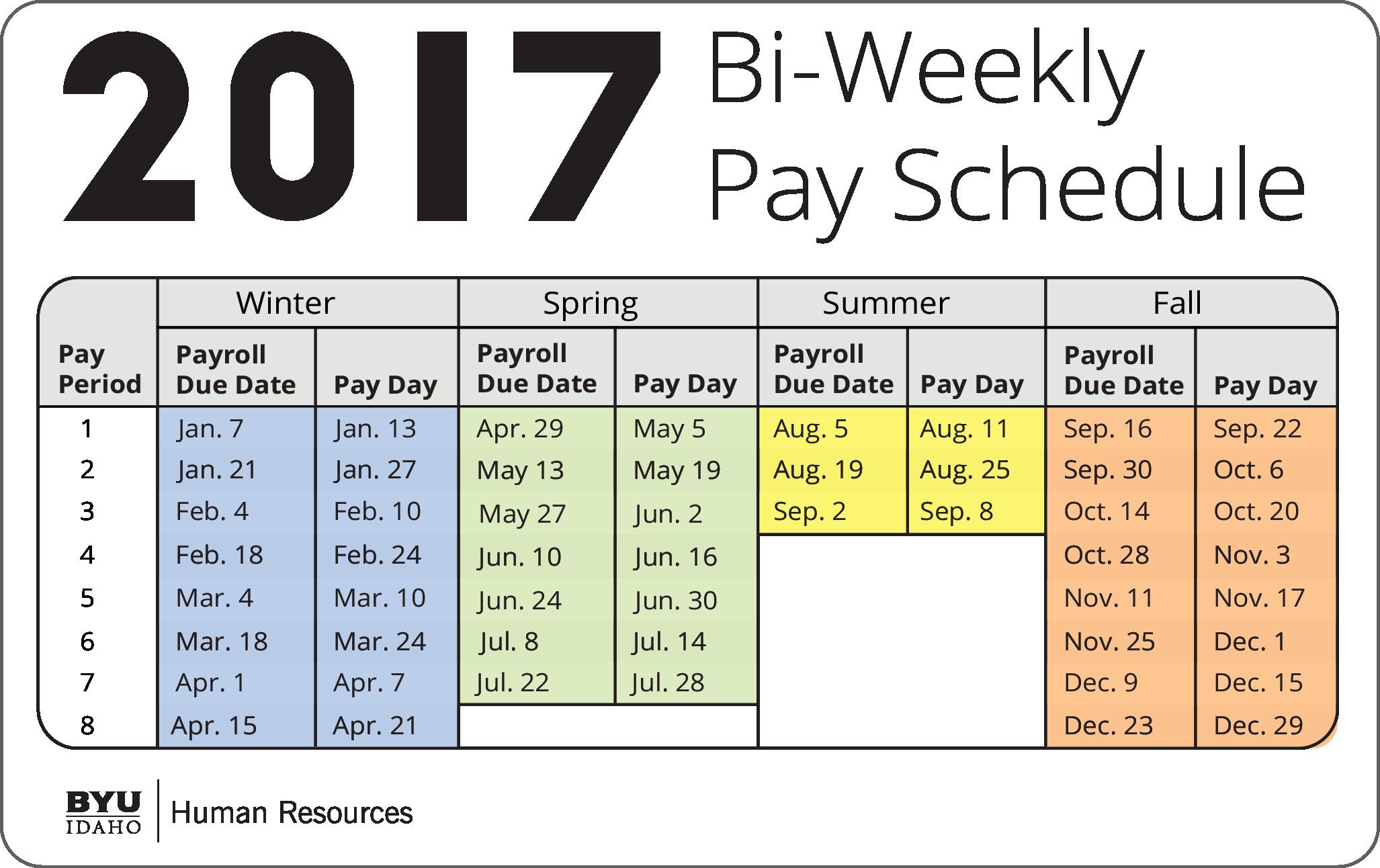 December Bi Weekly Calendar 2017