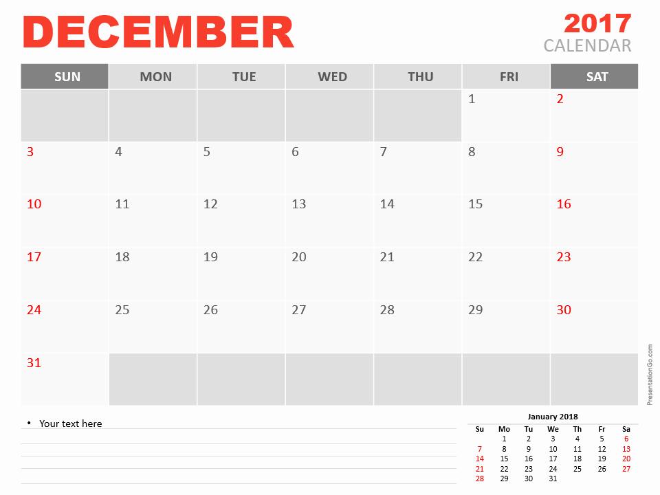 December Powerpoint Calendar 2017