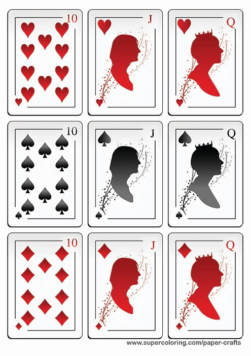 Deck Of Playing Cards with Silhouettes Printable Template