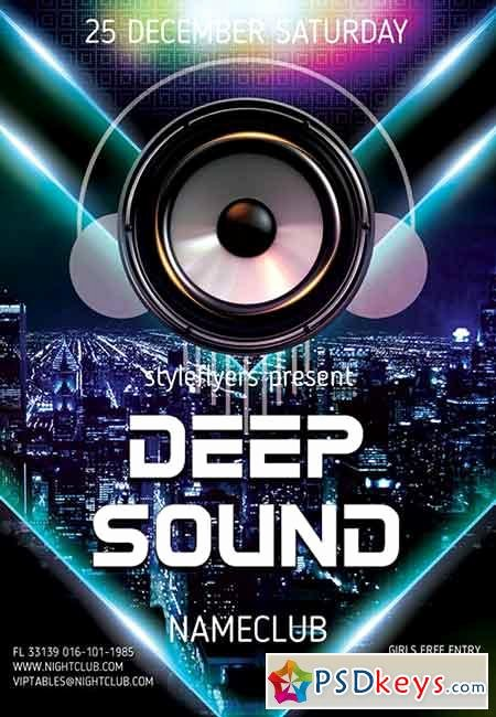 Deep sound Party Psd Flyer Template Cover