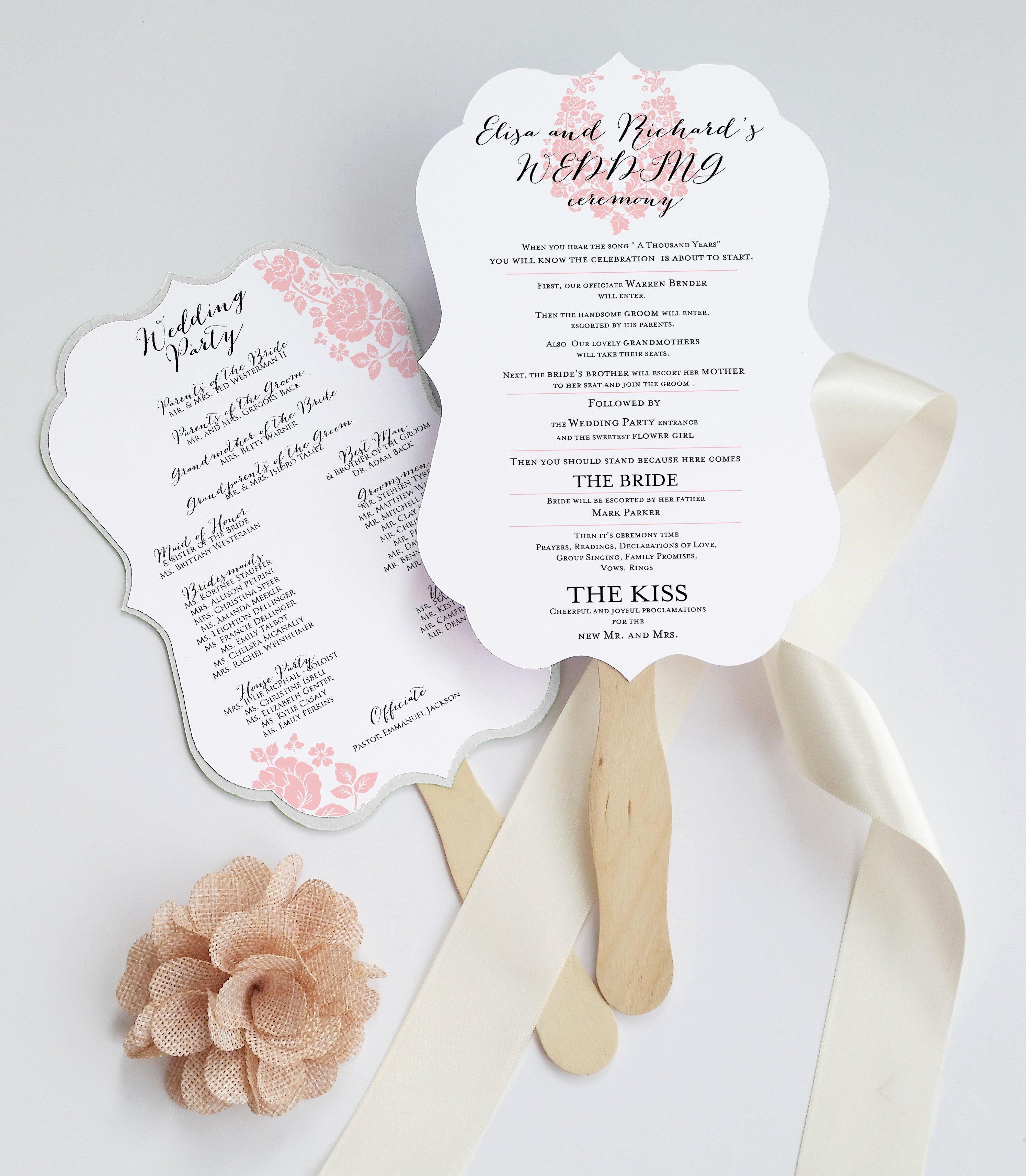 Deersfield Wedding Program Fan Cut and Coordinates