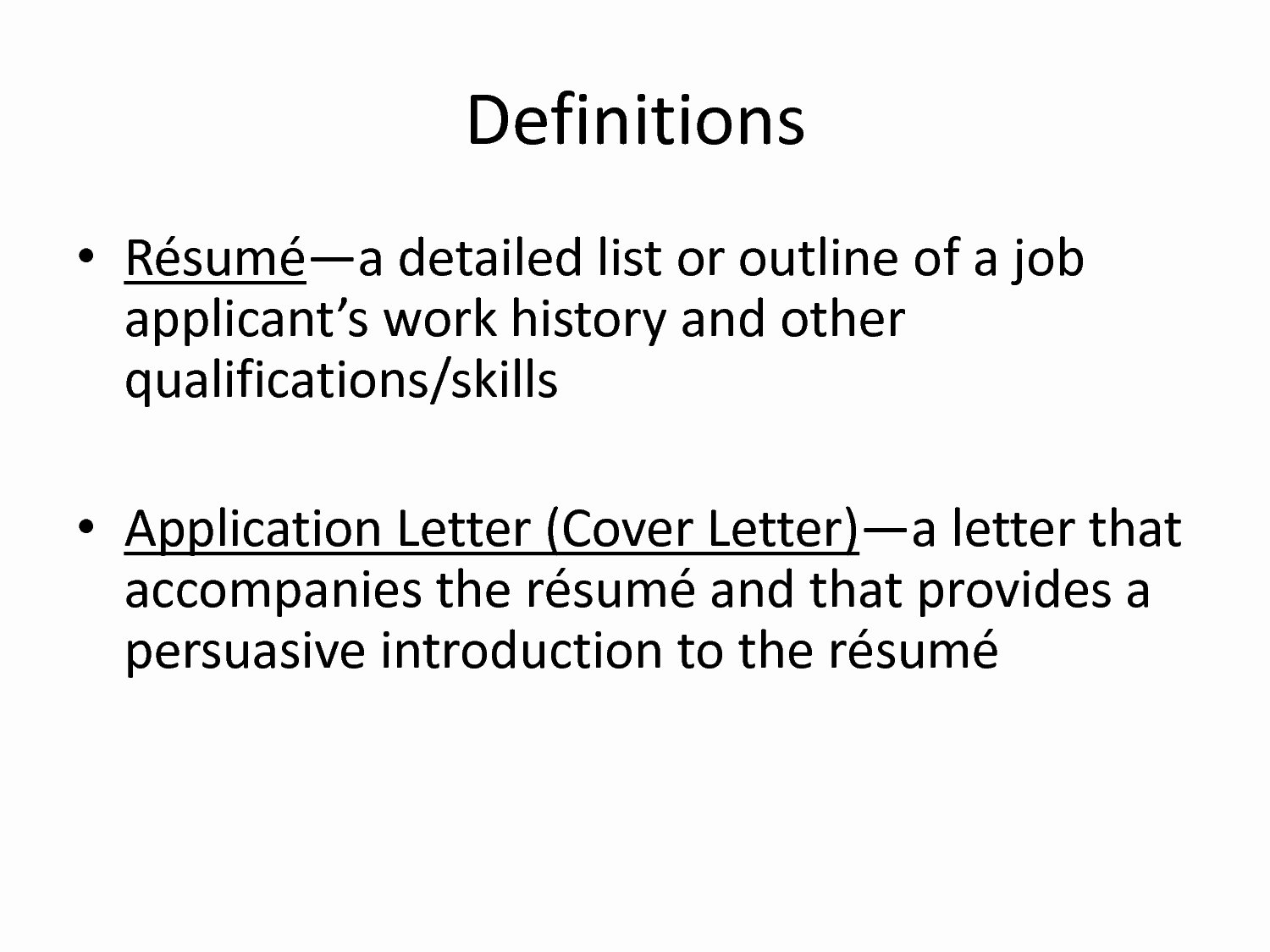 Definition Resume Template