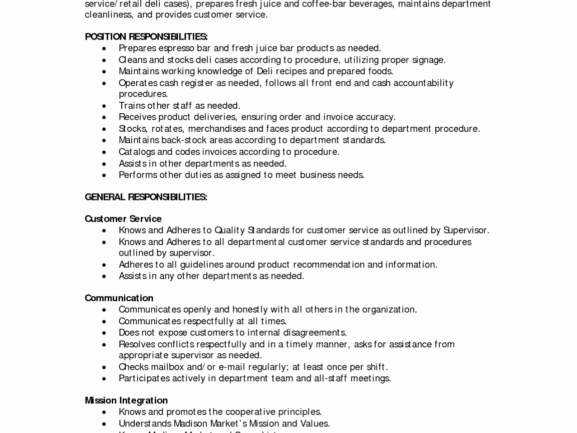 Deli Job Description for Resume Templates Central Bakery