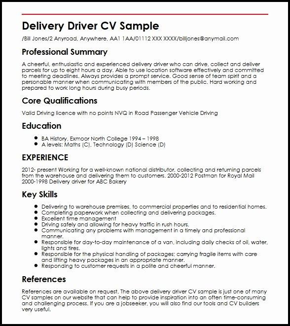 Delivery Driver Cv Sample