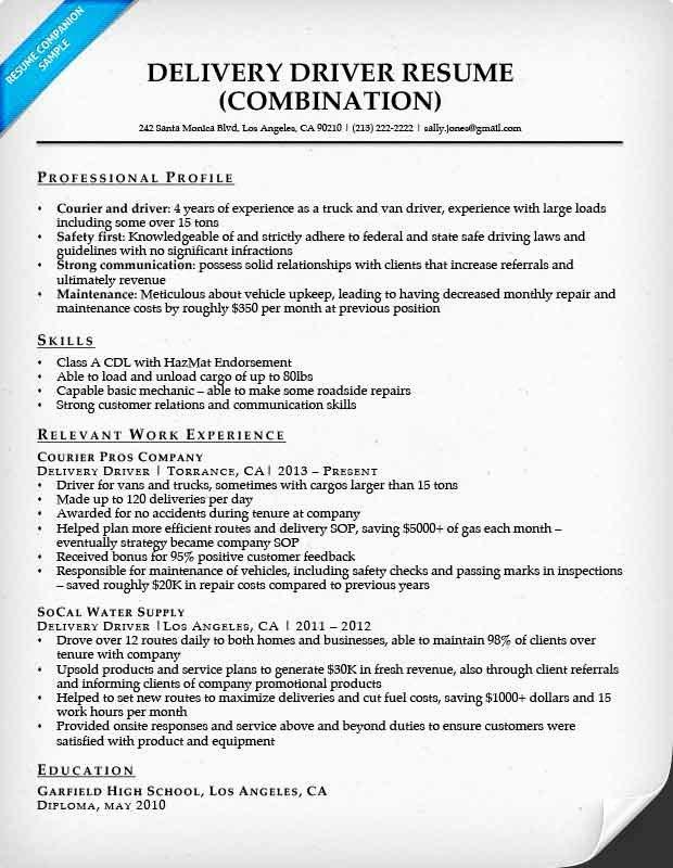 Delivery Driver Resume Sample