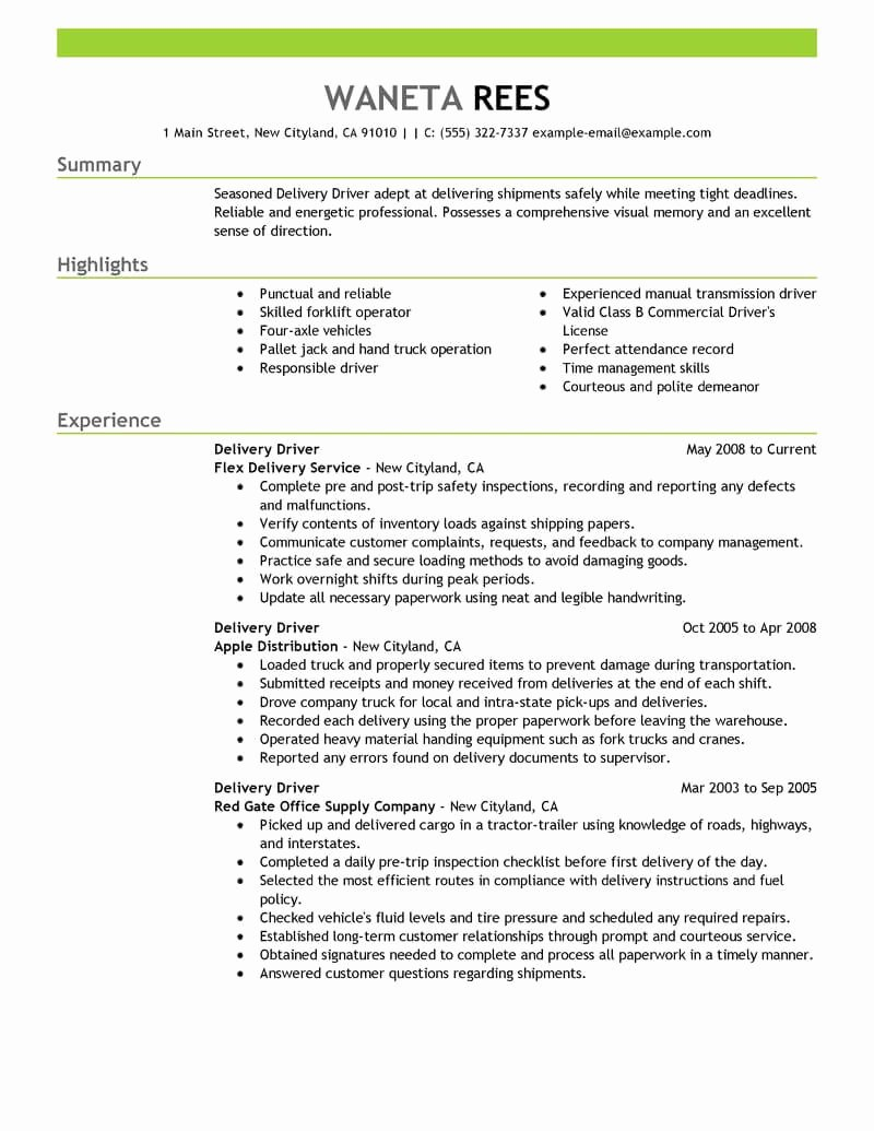Delivery Driver Resume Sample Driver Resumes