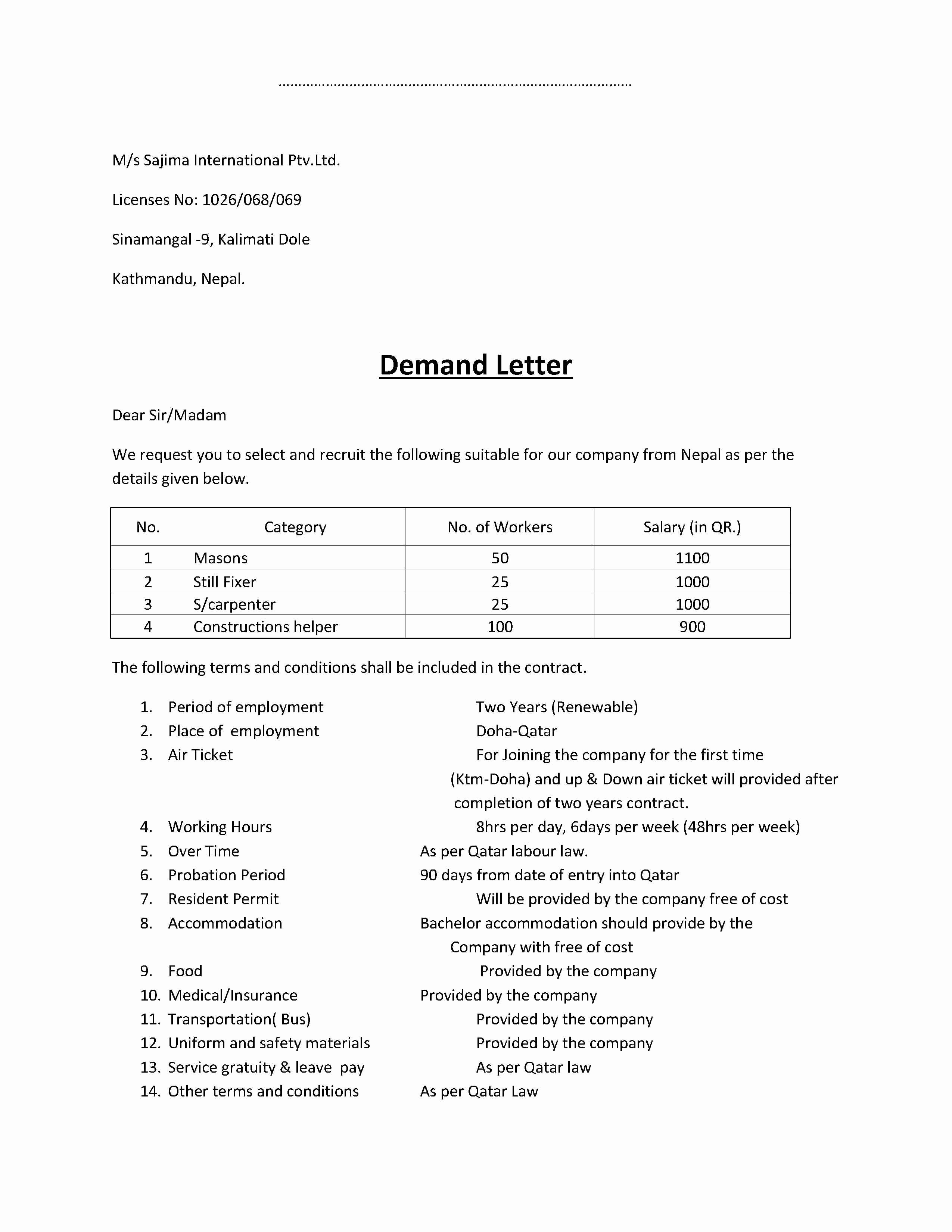 Demand Letter Sample Free Printable Documents