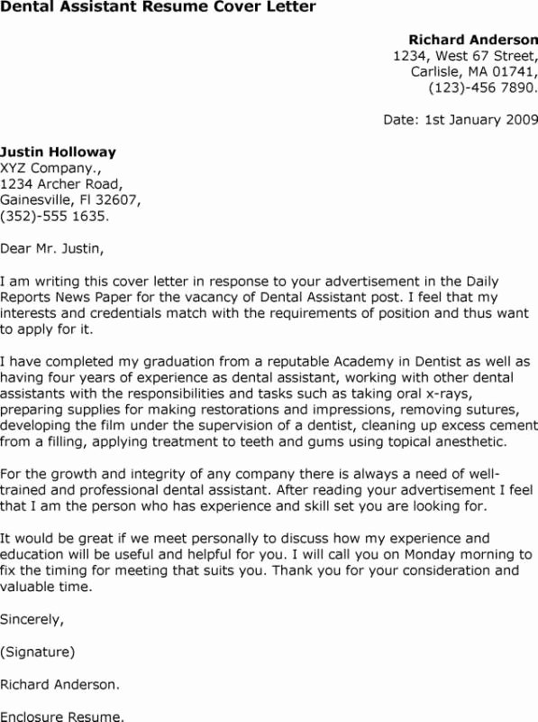 Dental assistant Cover Letter Samples
