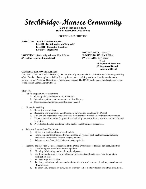 Dental assistant Job Description Resume – Perfect Resume
