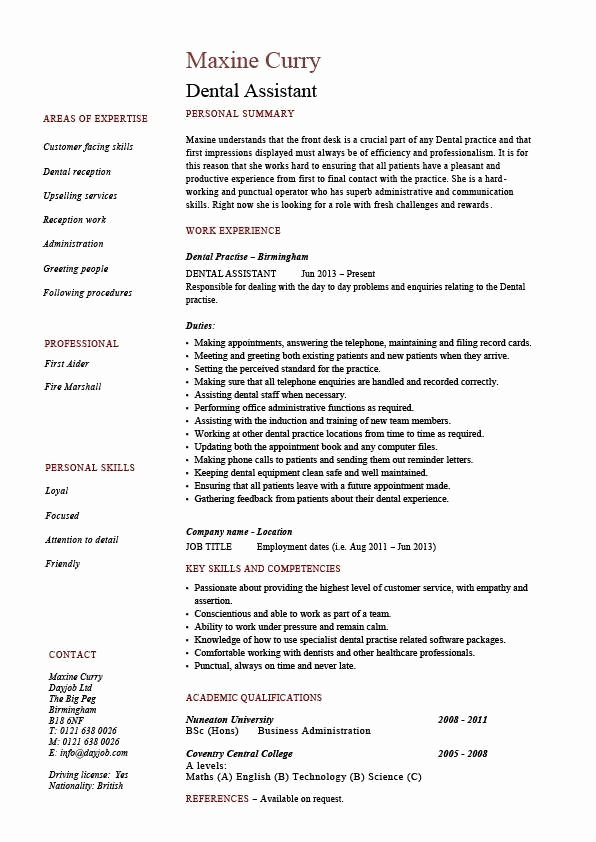 Dental assistant Resume Dentist Example Sample Job