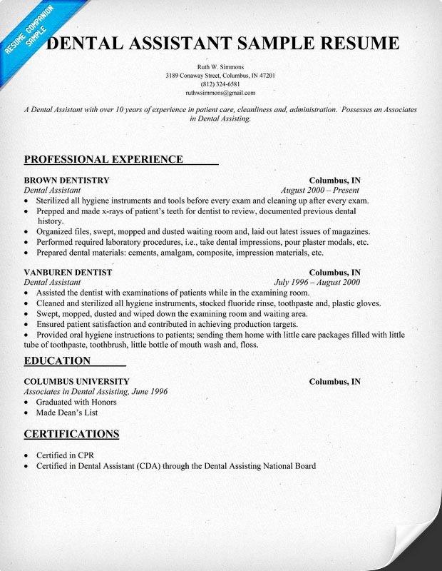 Dental assistant Resume Dentist Health Resume Panion