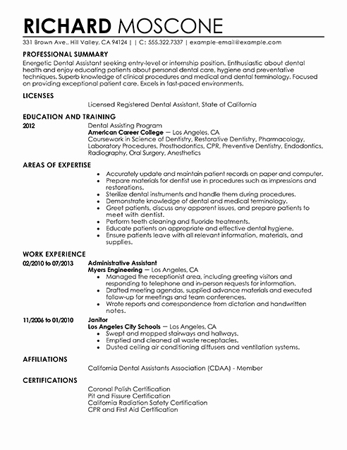 Dental assistant Resume Examples