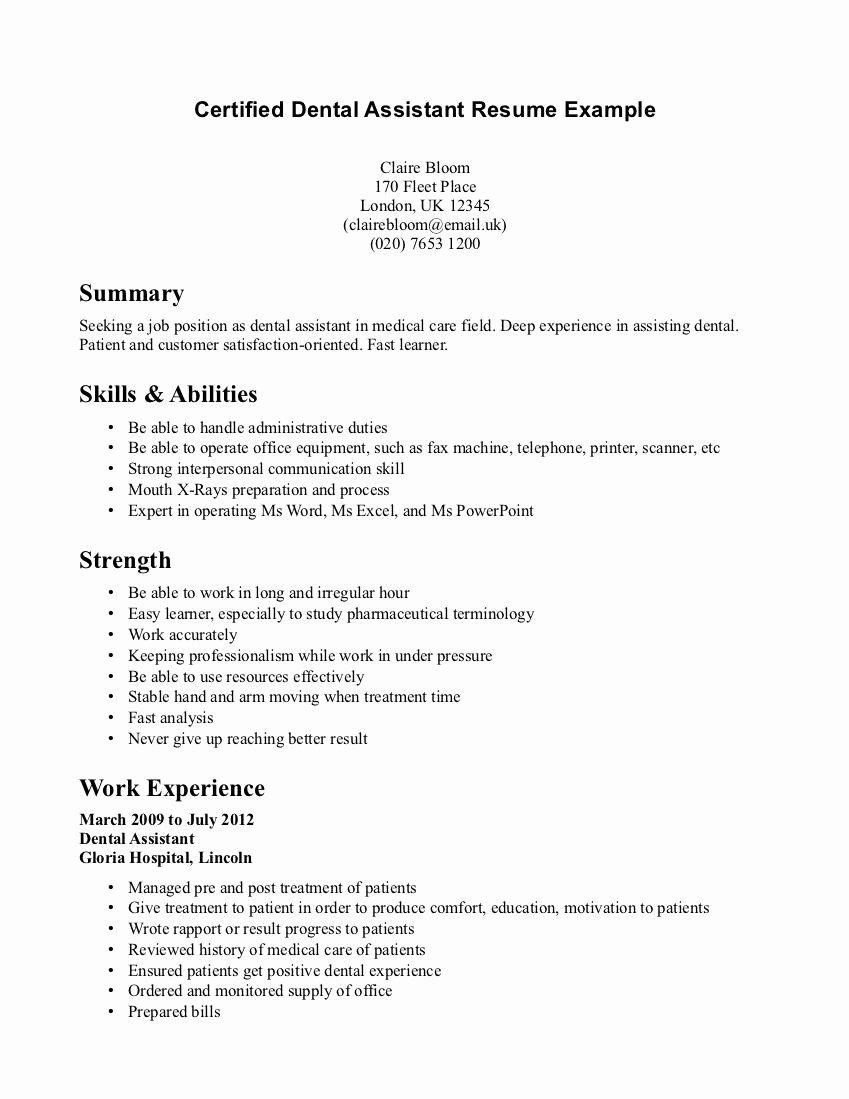 Dental assistant Resume Resume