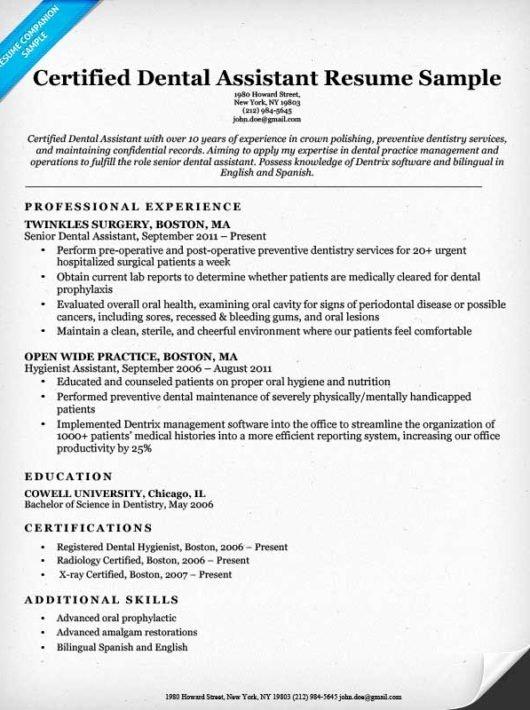 Dental assistant Resume Sample Best Resume Gallery