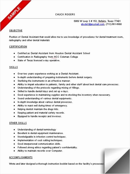 Dental assistant Resume Sample Dental