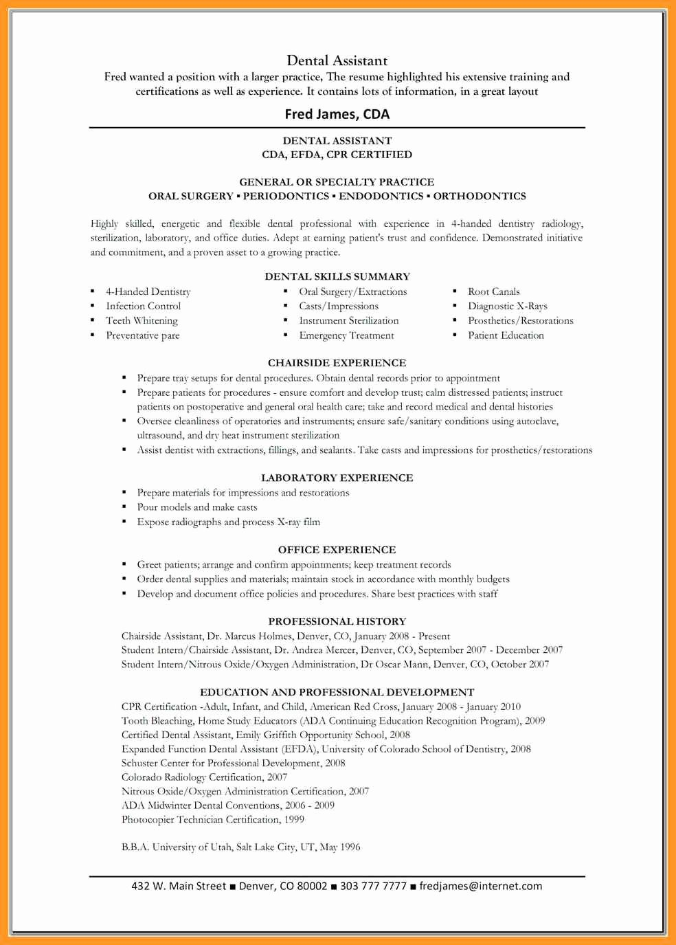 Dental assistant Resume Skills List