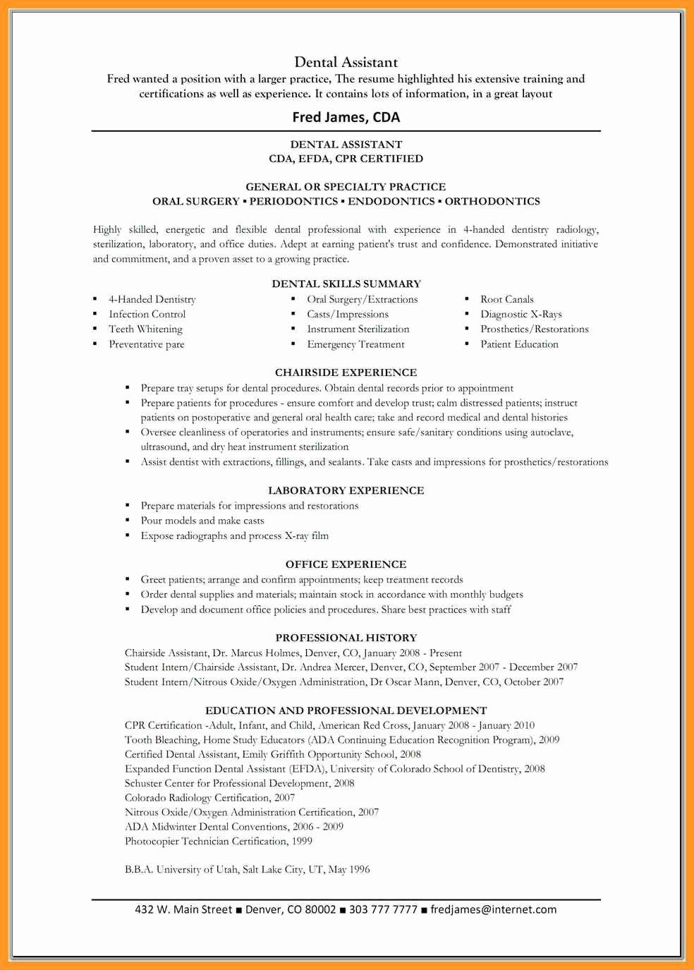 Dental assistant Resume Skills List