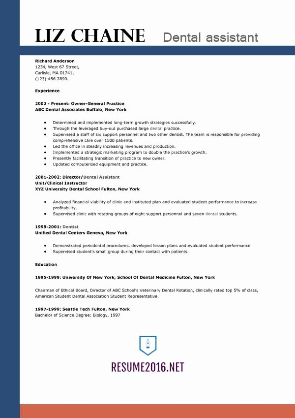 Dental assistant Resume Template 2016 Get the Job