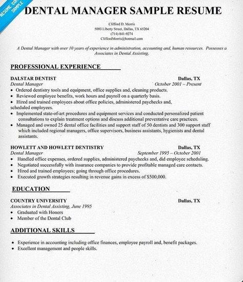 Dental Fice Manager Resume Sample