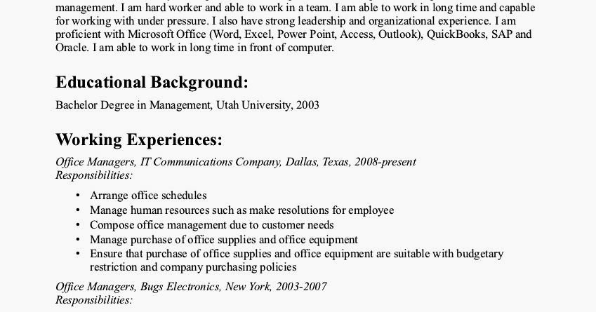 Dental Fice Manager Resume Sample