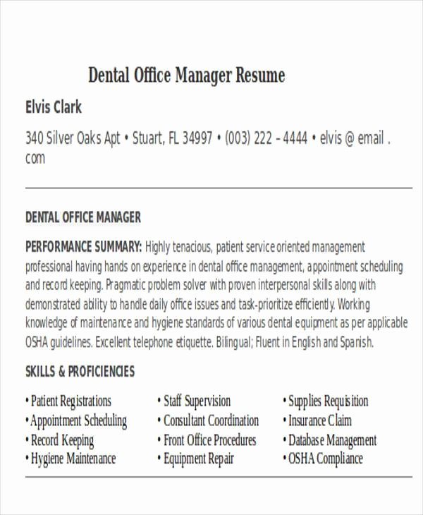 Dental Fice Manager Resume