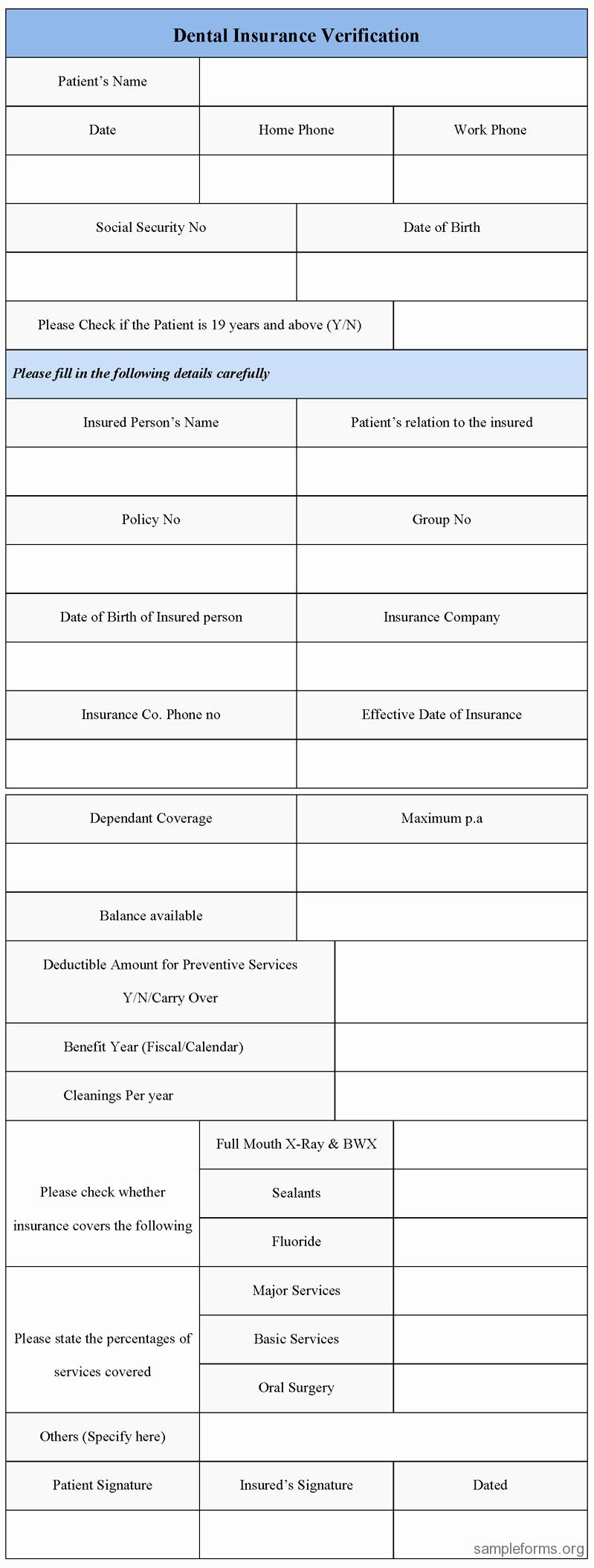 Dental Insurance Verification form Sample forms