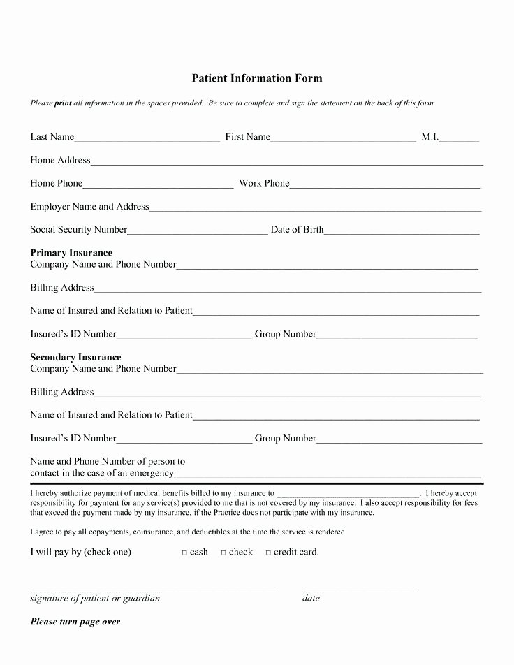 Dental Patient form Template Registration Information