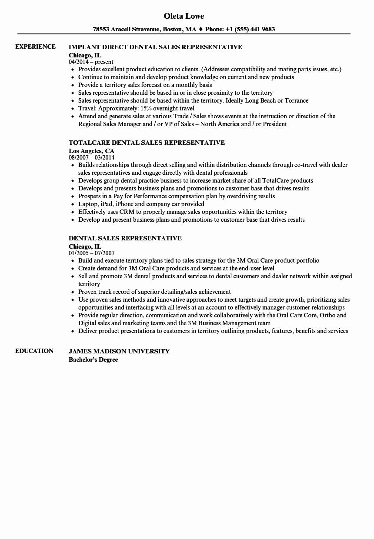 dental sales representative resume sample