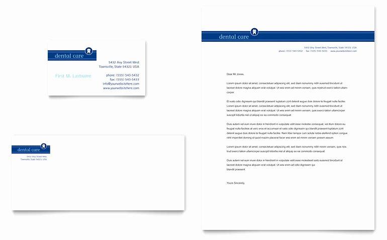 Dentist Fice Business Card & Letterhead Template Word