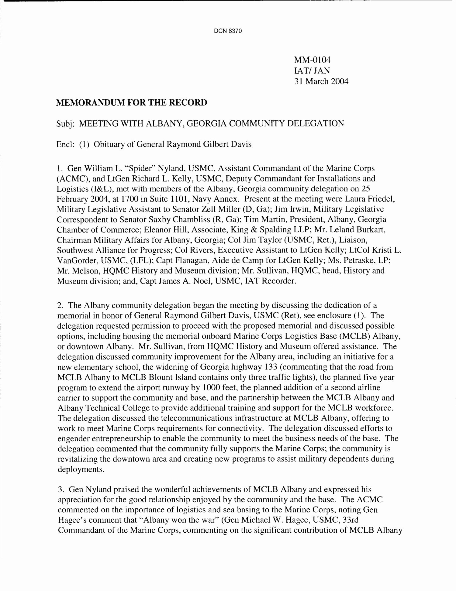 Department Of the Navy Memorandum for the Record