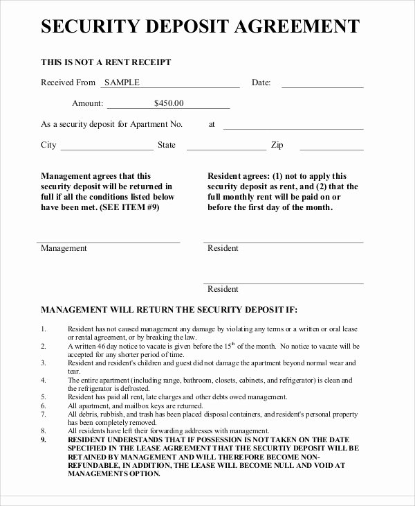 Deposit Agreement Templates 17 Free Sample Example