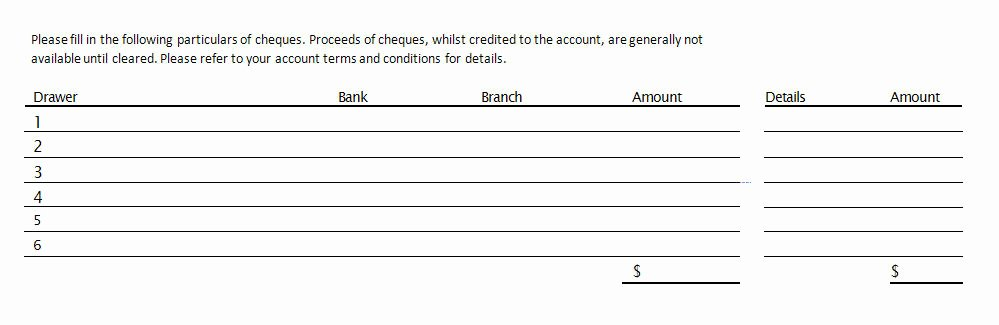 Deposit Slip Template Template Design Ideas