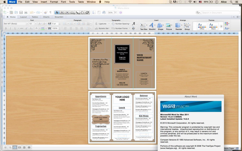 Design & Templates Tri Fold Take Out Menu Menu Templates