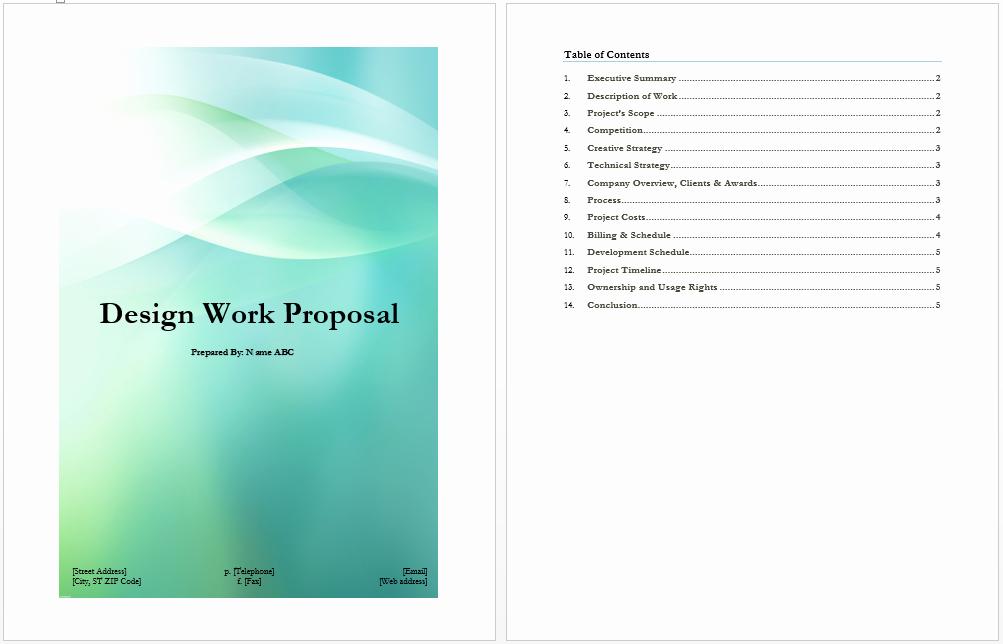 Design Work Proposal Template Microsoft Word Templates