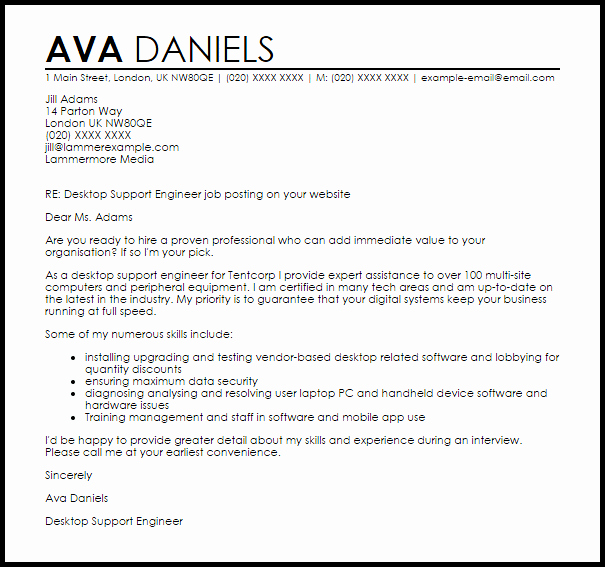Desktop Support Engineer Cover Letter Sample