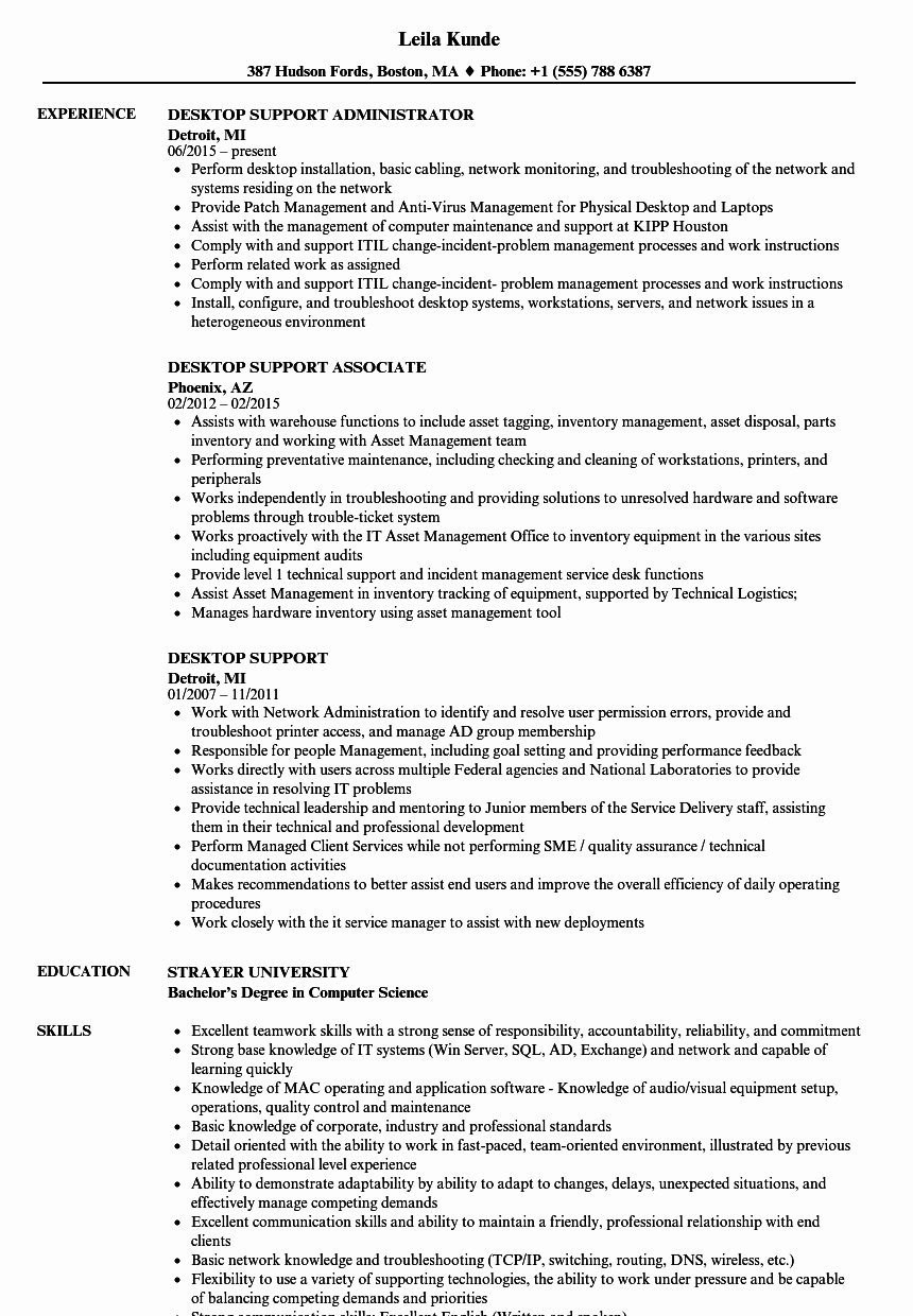 Desktop Support Resume Samples