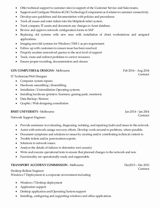 Desktop Support Sample Resume Best Resume Gallery