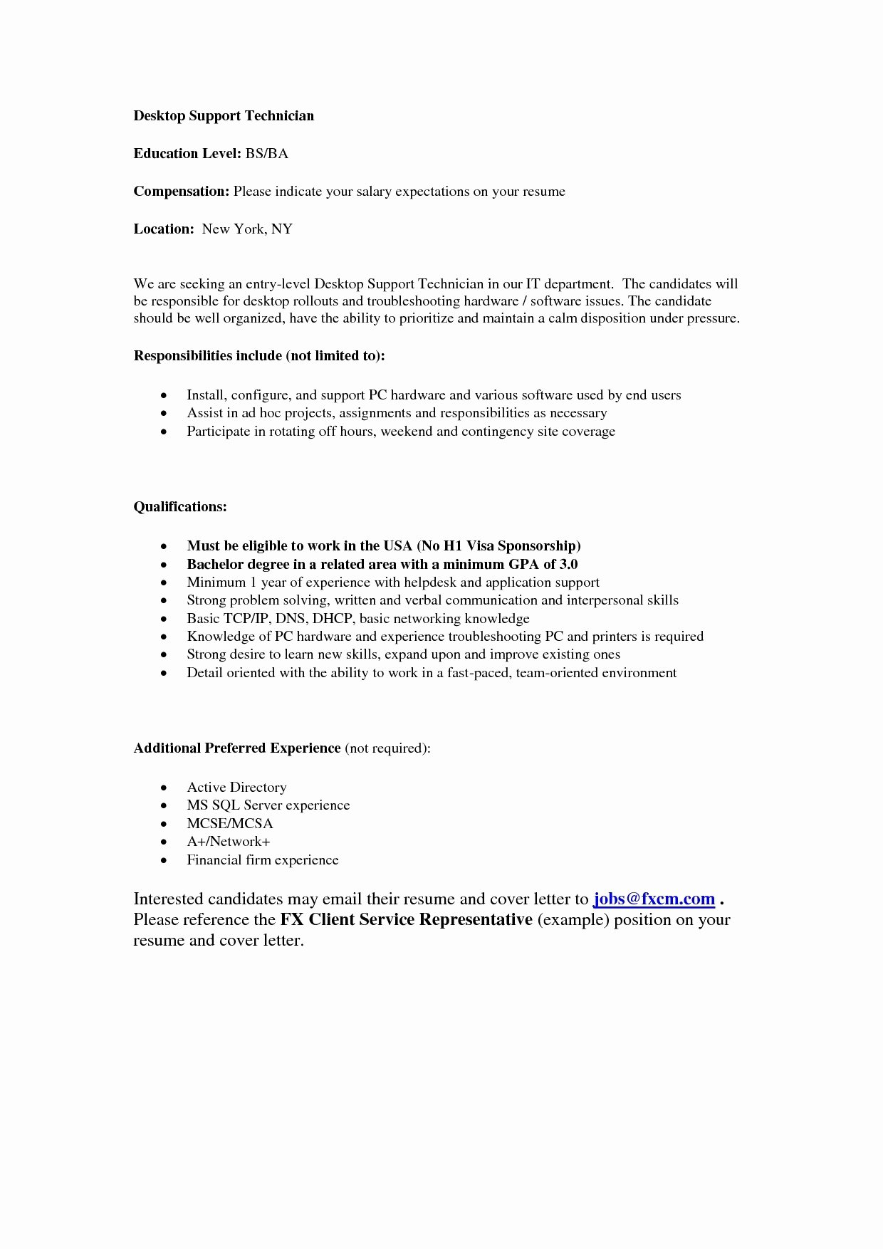 Desktop Support Technician Cover Letter Puter Repair